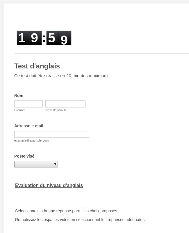Test anglais MCA CI