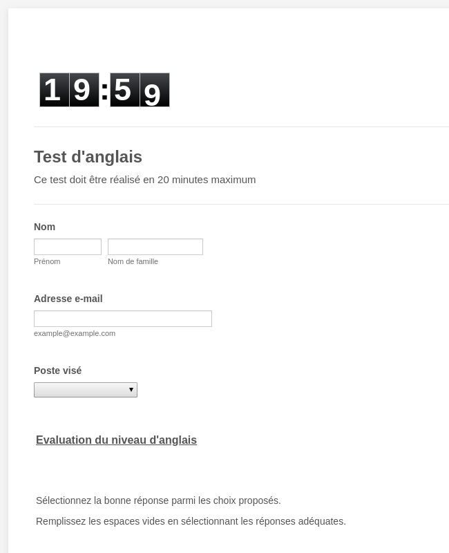 Test anglais MCA CI