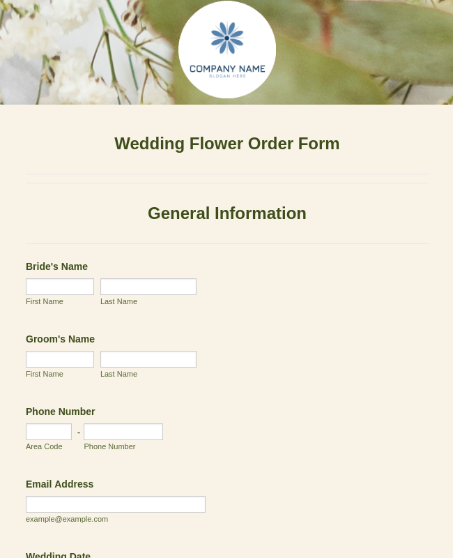 Wedding Flower Order Form Template