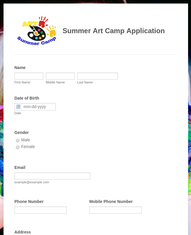 Summer Art Camp Application Form