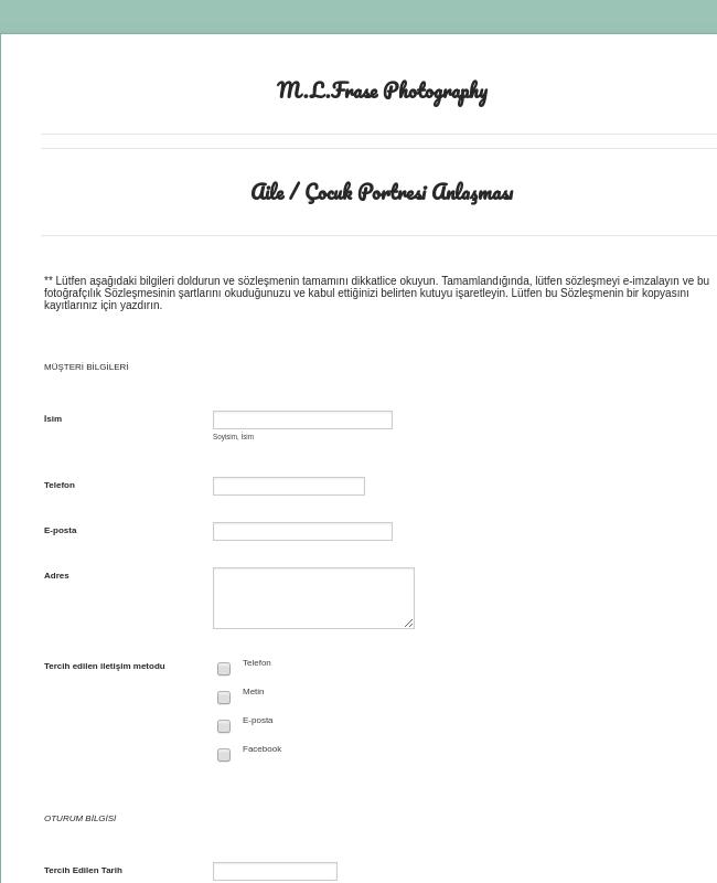 Aile / Çocuk Fotoğraf Sözleşmesi