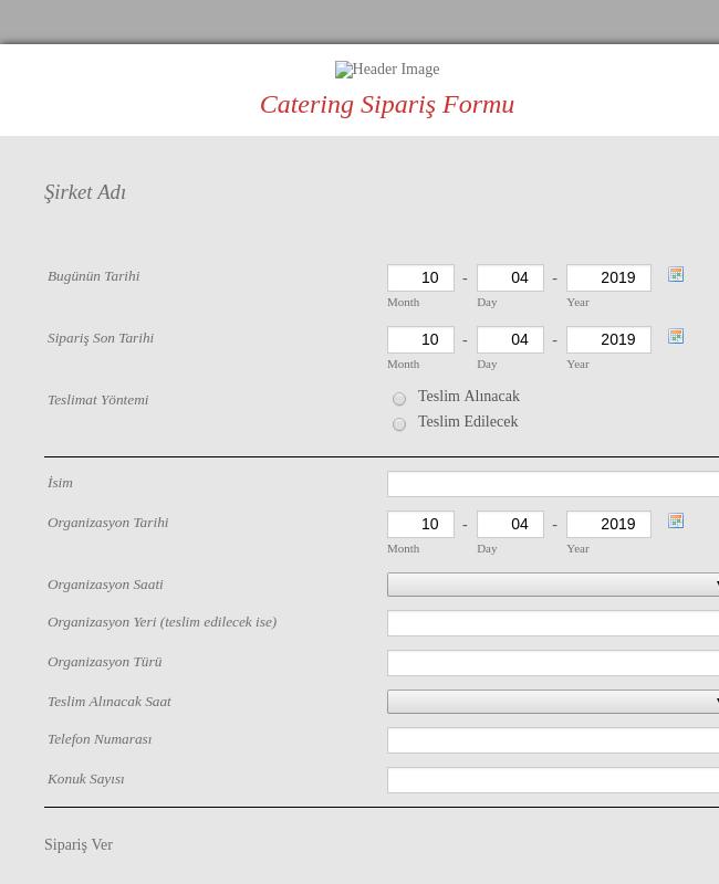Catering Sipariş Formu