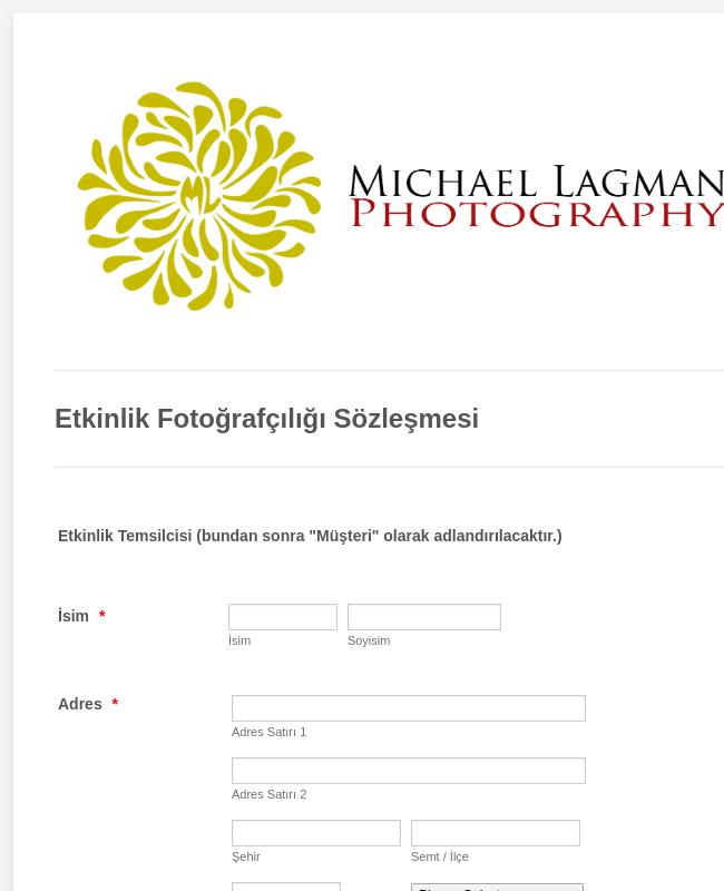 Etkinlik Fotoğrafçılığı Sözleşmesi