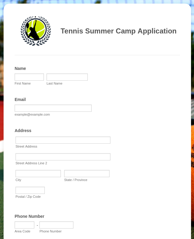 Tennis Summer Camp Application Form