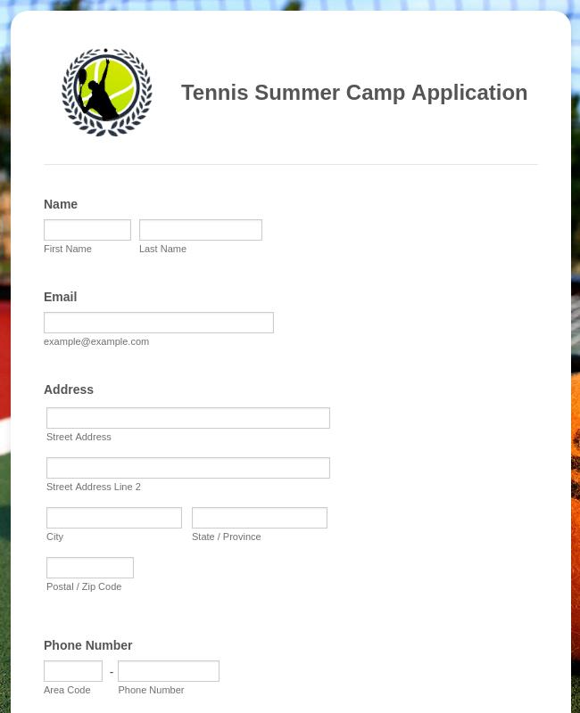 Tennis Summer Camp Application Form