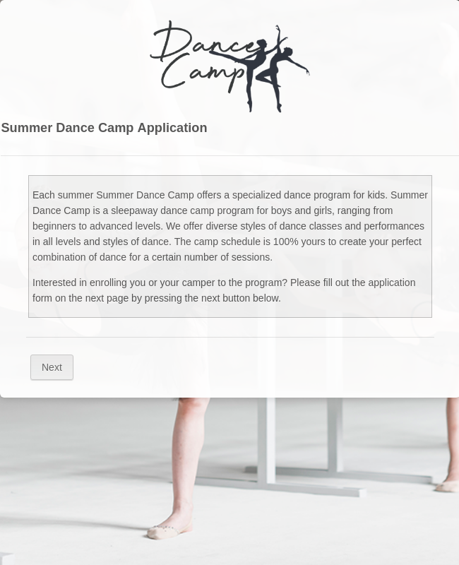 Summer Dance Camp Application Form