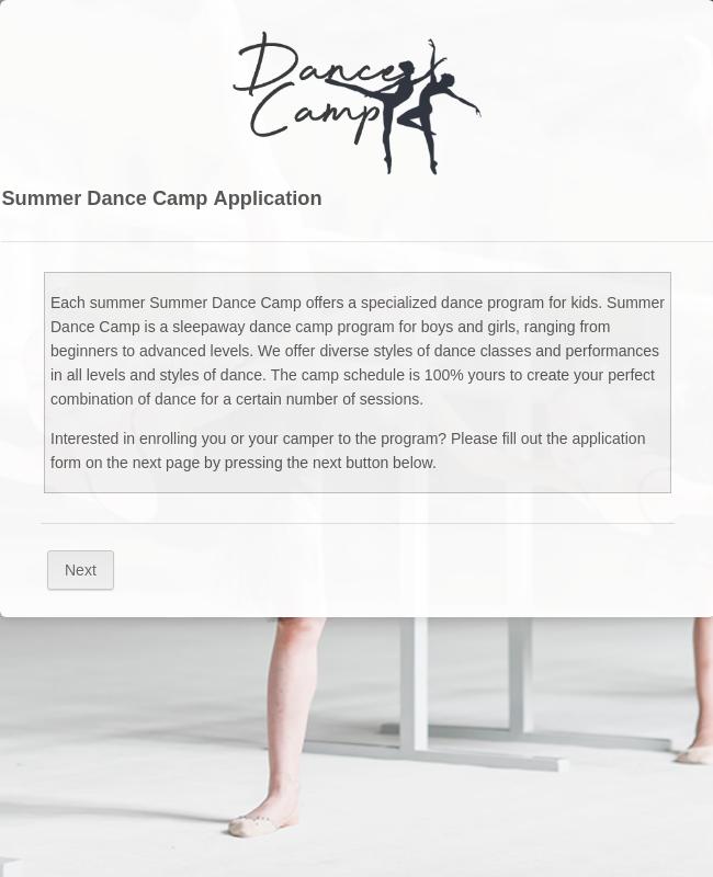 Summer Dance Camp Application Form