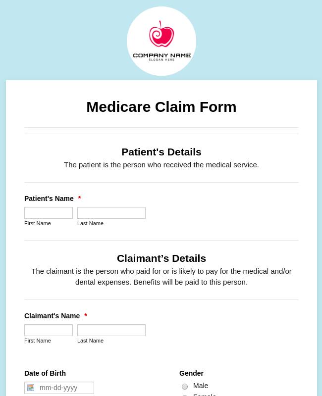 Medicare Claim Form Template