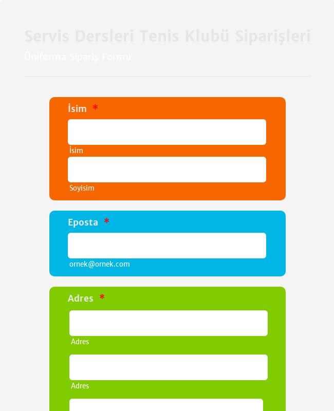Üniforma Sipariş Formu