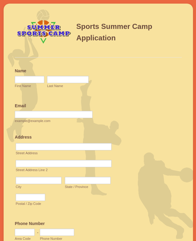 Sports Summer Camp Application Form