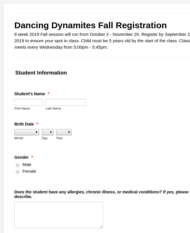 Fall Registration