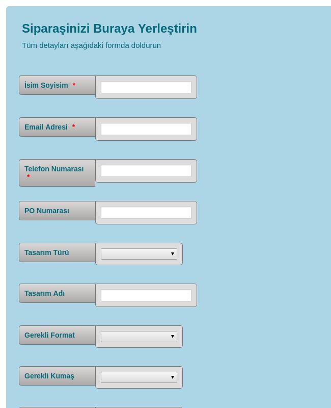 Dijital Fotoğraf Transfer Sipariş Formu