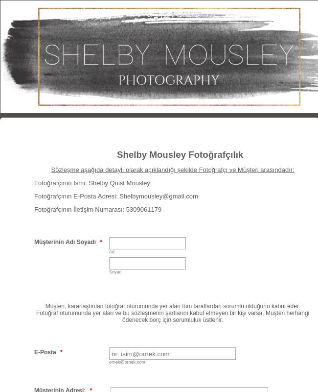 Fotoğrafçılık Dijital Sözleşme Şablonu