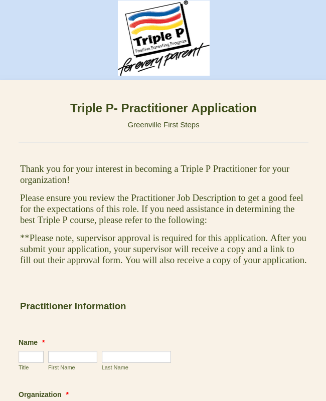 Triple P Parenting Program: Greenville Practitioner Application