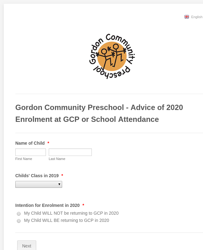 Gordon Community Preschool - Advice of 2020 Enrolment at GCP or School Attendance