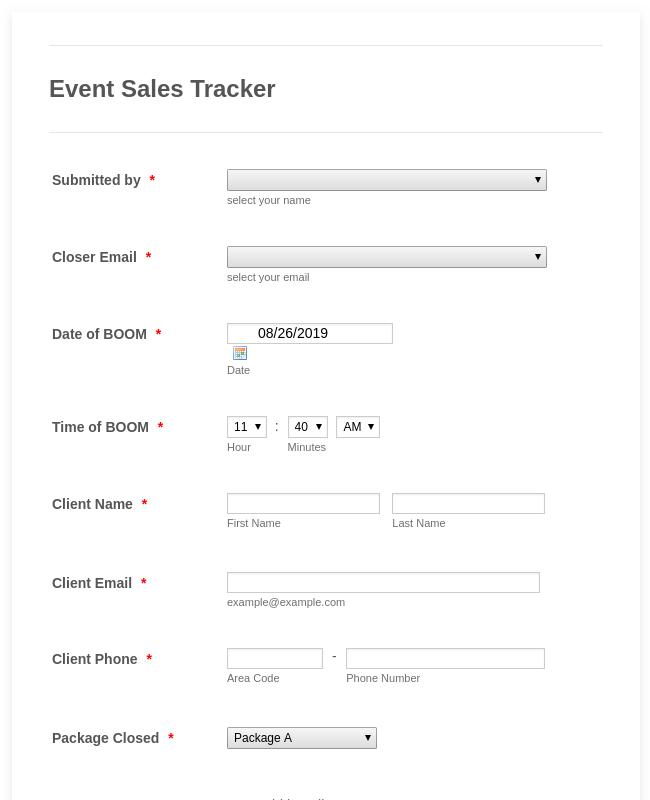 Event Sales Tracker - Closing Event (7/12-14)