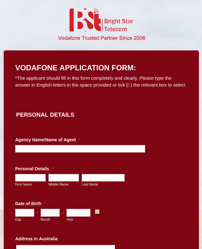 Vodafone Application Form - Bright Star Telecom