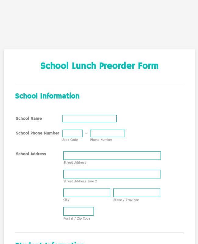 School Lunch Preorder Form