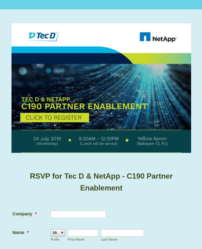 RSVP For Tec D & NetApp - C190 Partner Enablement
