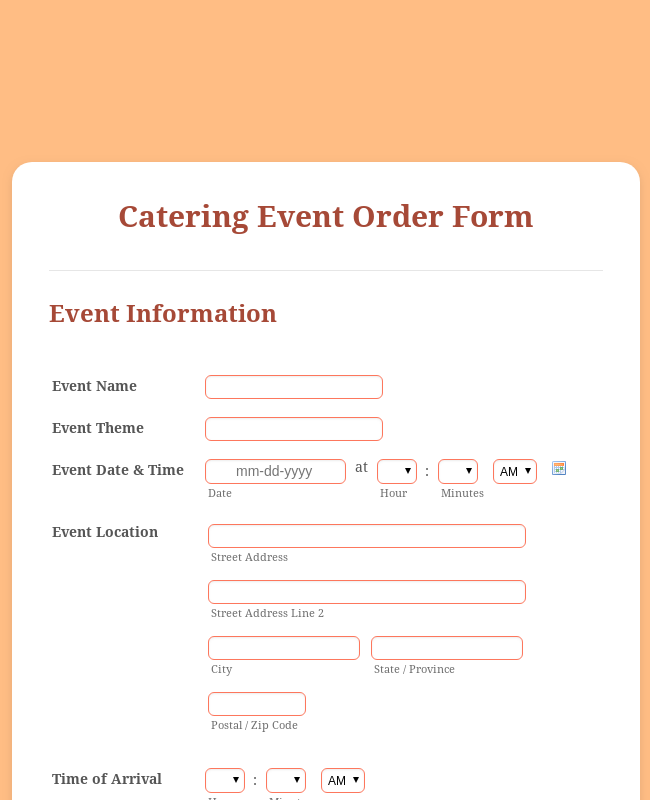Catering Event Order Form Template
