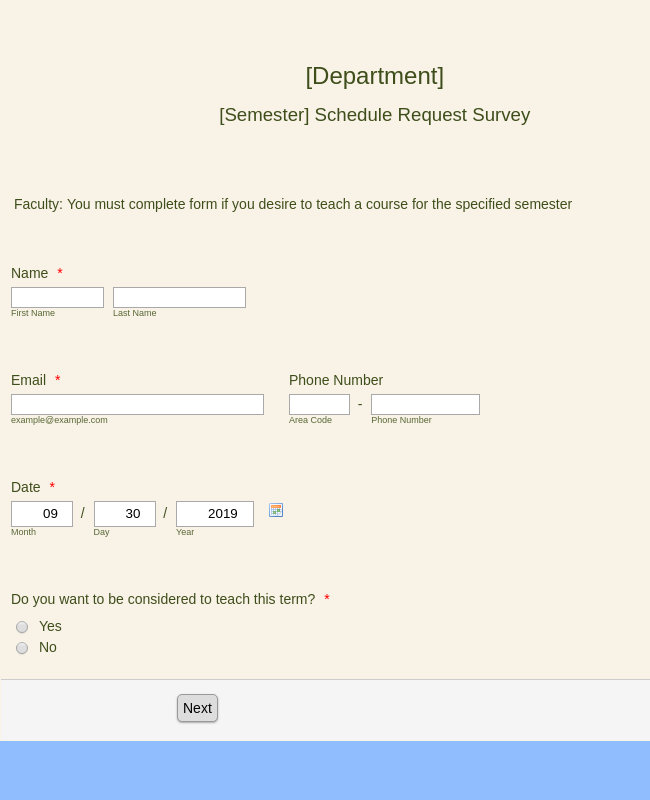 LCC [Department] [Semester] Schedule Request