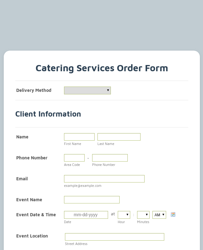 Catering Services Order Form Template