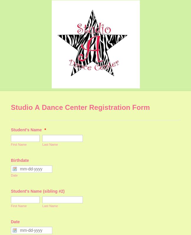 Studio A Dance Center Registration Form