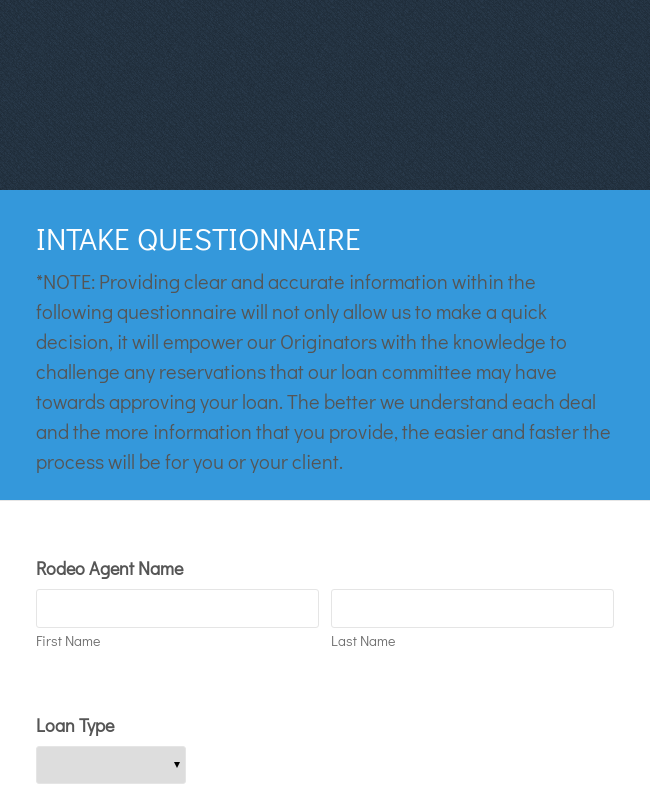 Intake Questionnaire