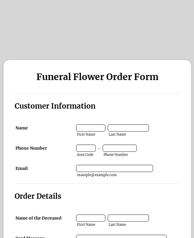 Funeral Flower Order Form