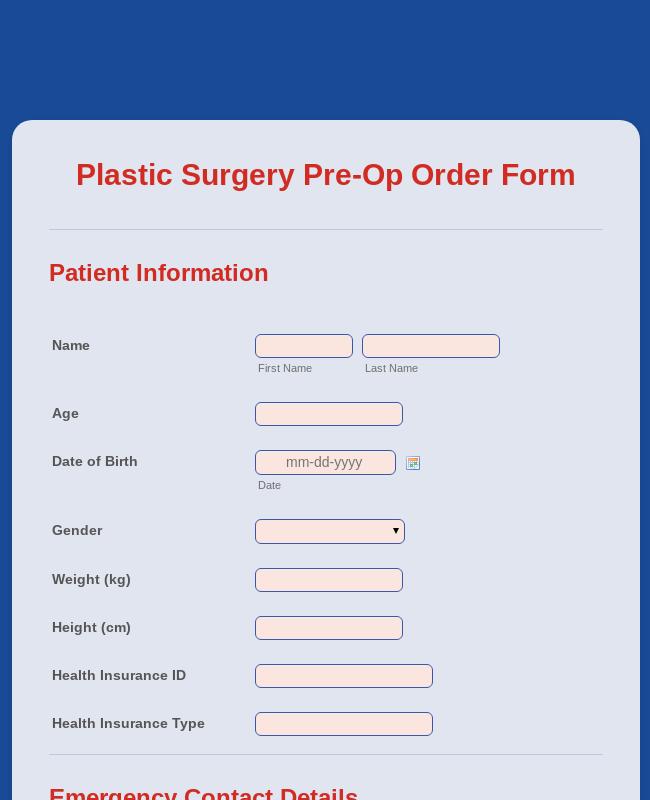 Plastic Surgery Pre-Op Order Form