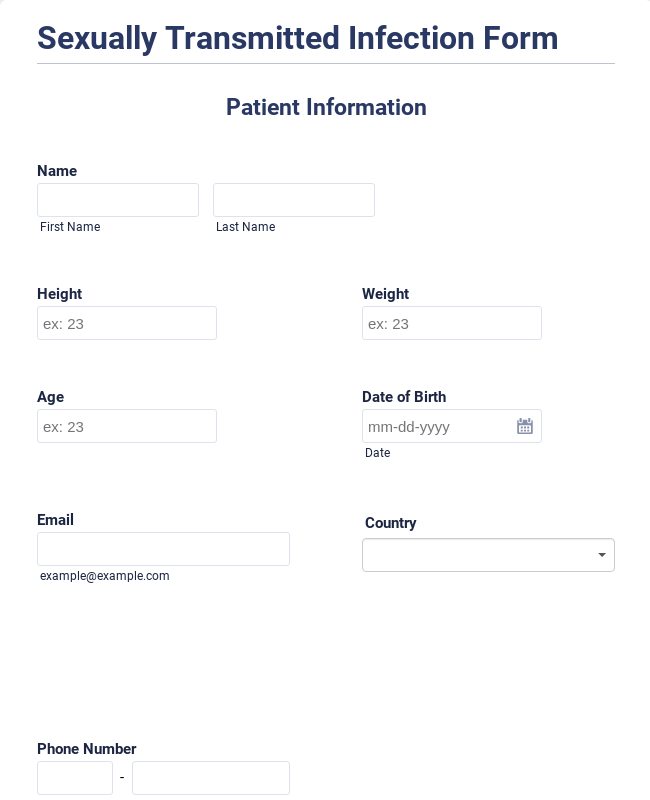 Sexually Transmitted Infection Report Form