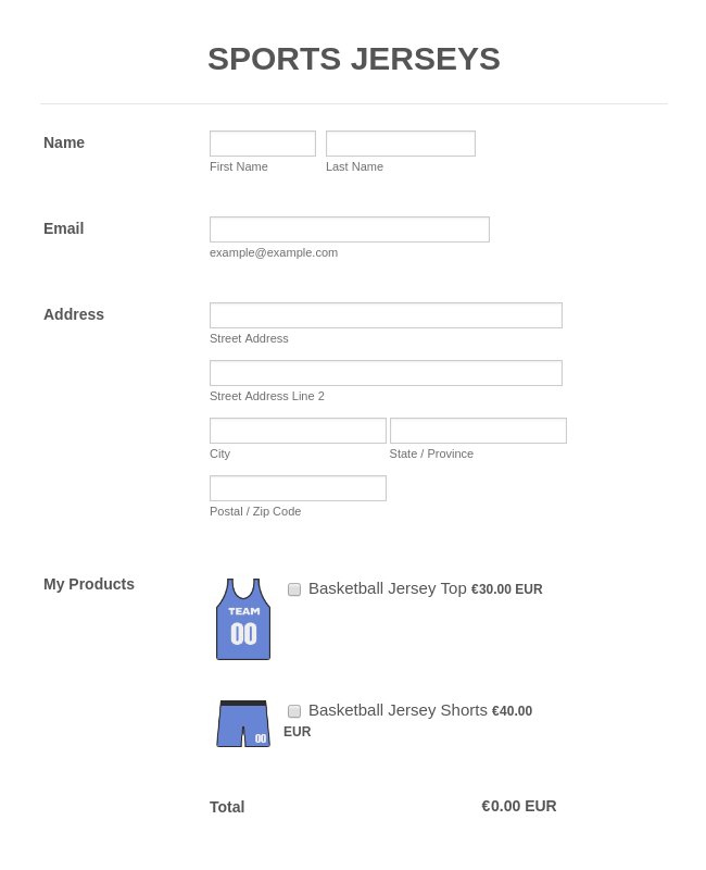 Cheap Sports Jersey Payment Form with Sofort