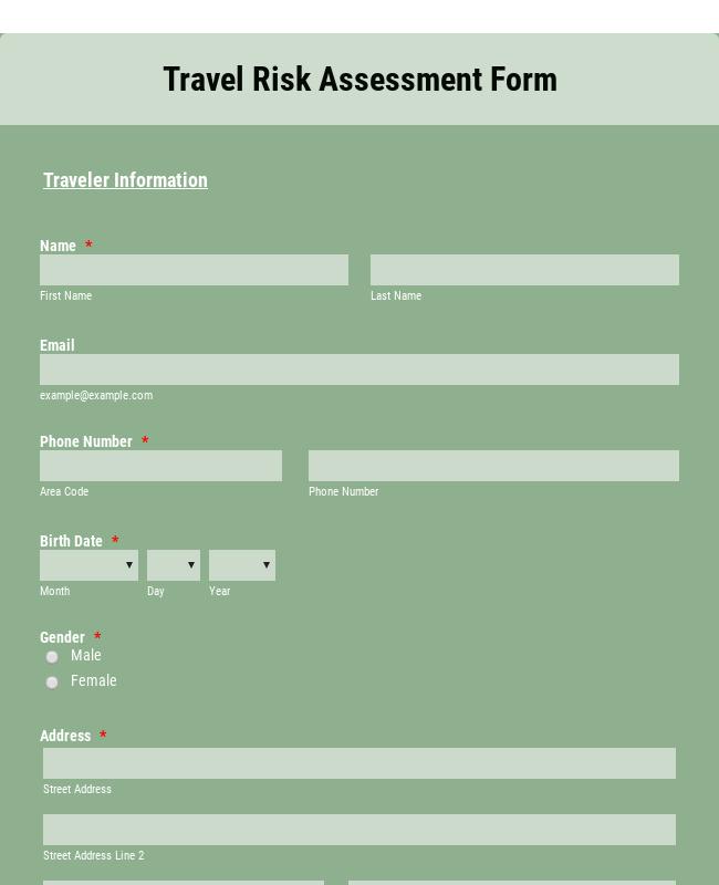 Travel Risk Assessment Form