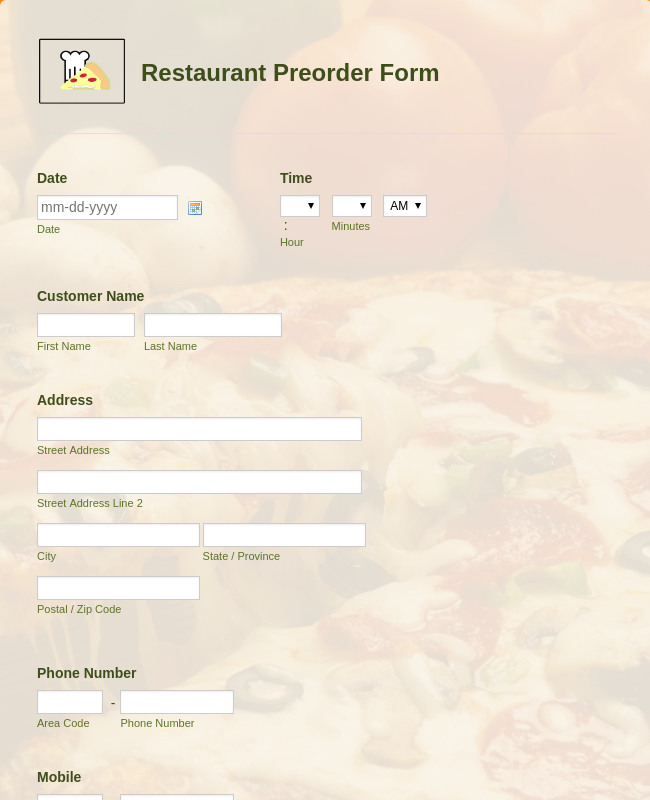 Restaurant Preorder Form Template