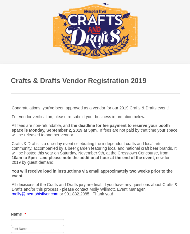 Vendor Registration Form   Craft Fair