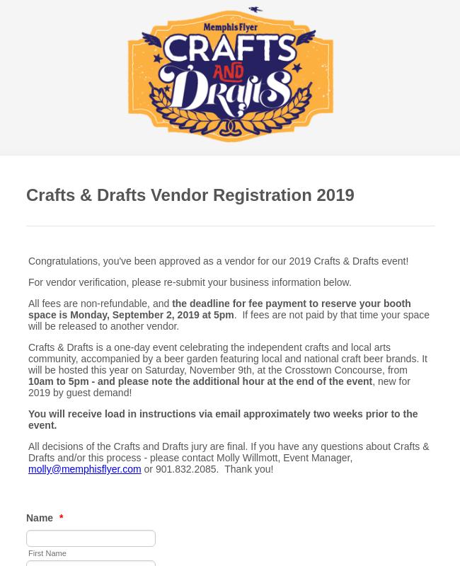 Vendor Registration Form   Craft Fair