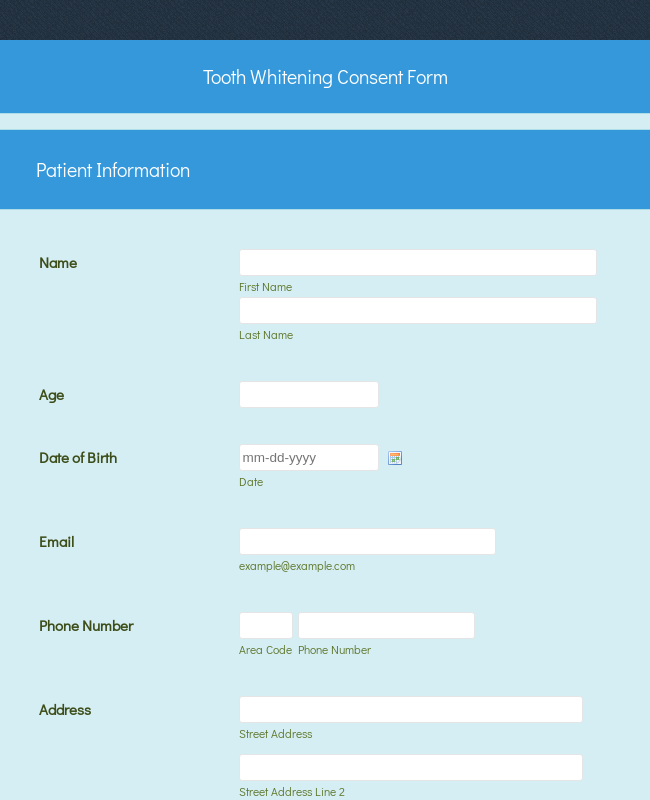Tooth Whitening Consent Form