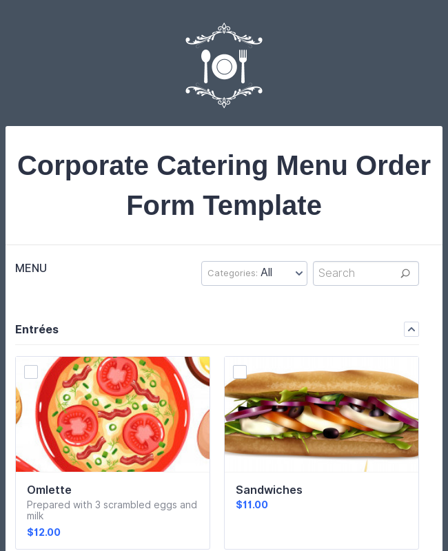 Corporate Catering Menu Order Form Template