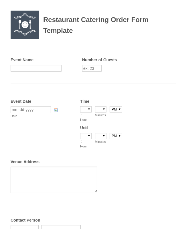 restaurant catering order form template jotform. Black Bedroom Furniture Sets. Home Design Ideas
