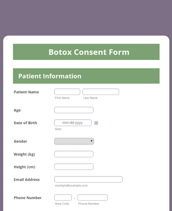 Botox Consent Form