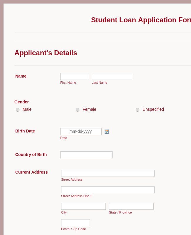 Sample Scholarship Application Form Template | JotForm