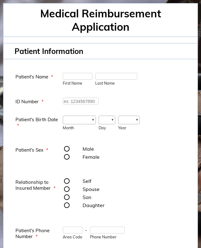 Medical Reimbursement Application
