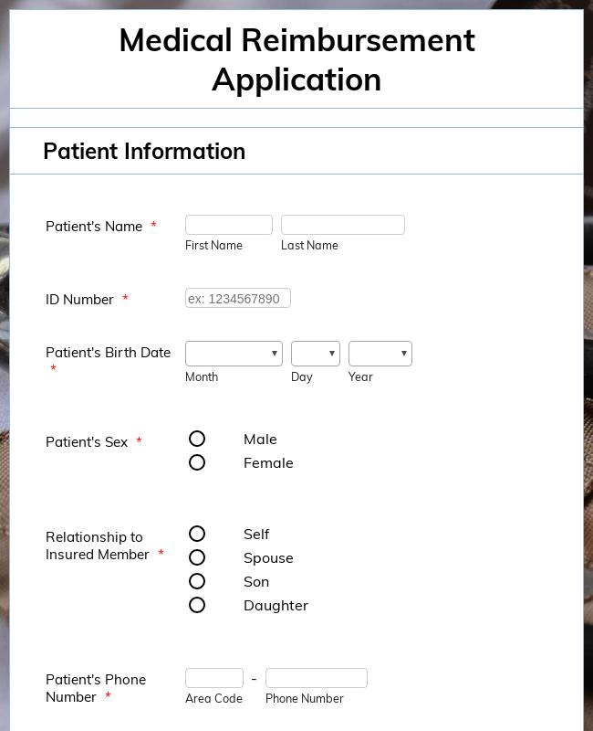 Medical Reimbursement Application