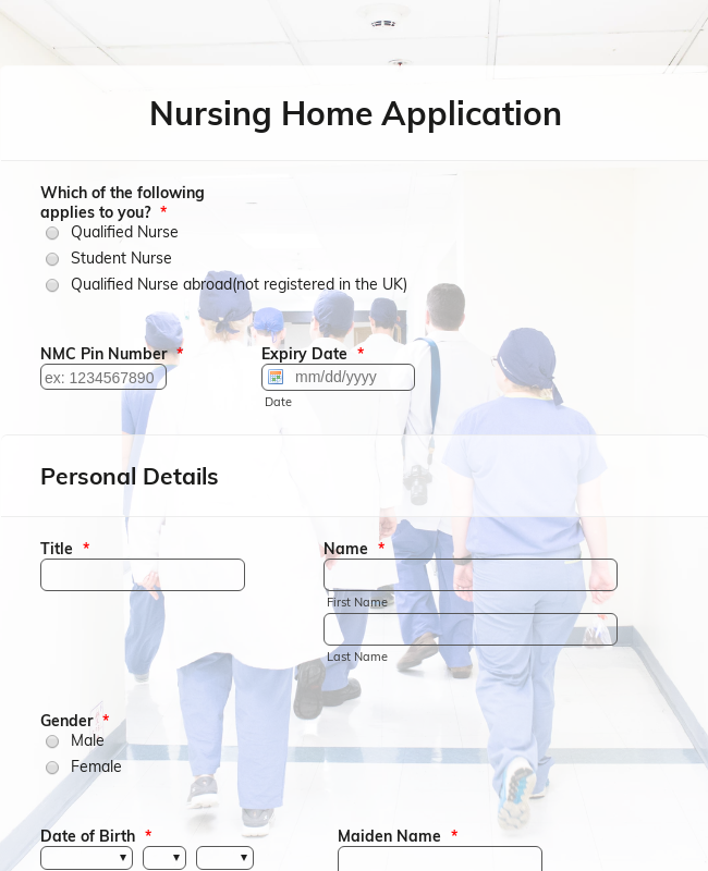Nursing Home Application Form
