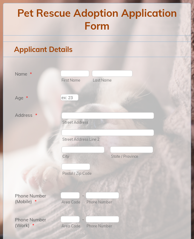 Pet Rescue Adoption Application Form