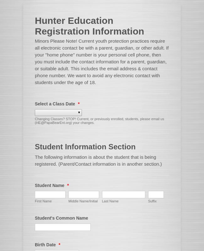 Hunter Education Registration Form
