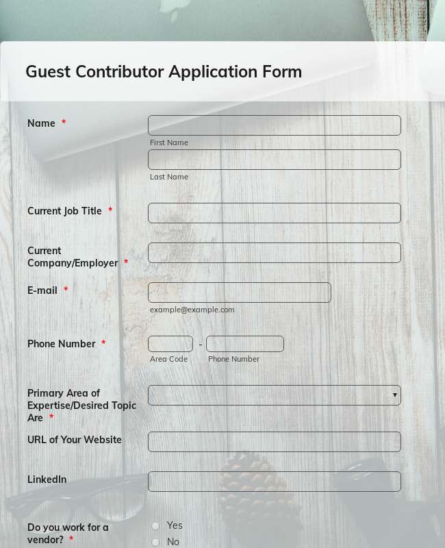 Guest Contributor Application Form