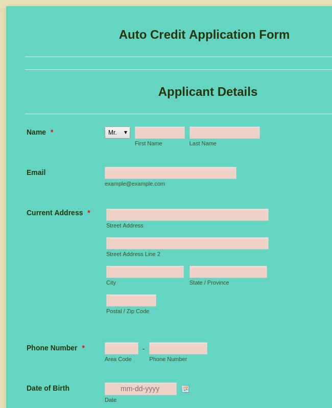 Auto Credit Application Form