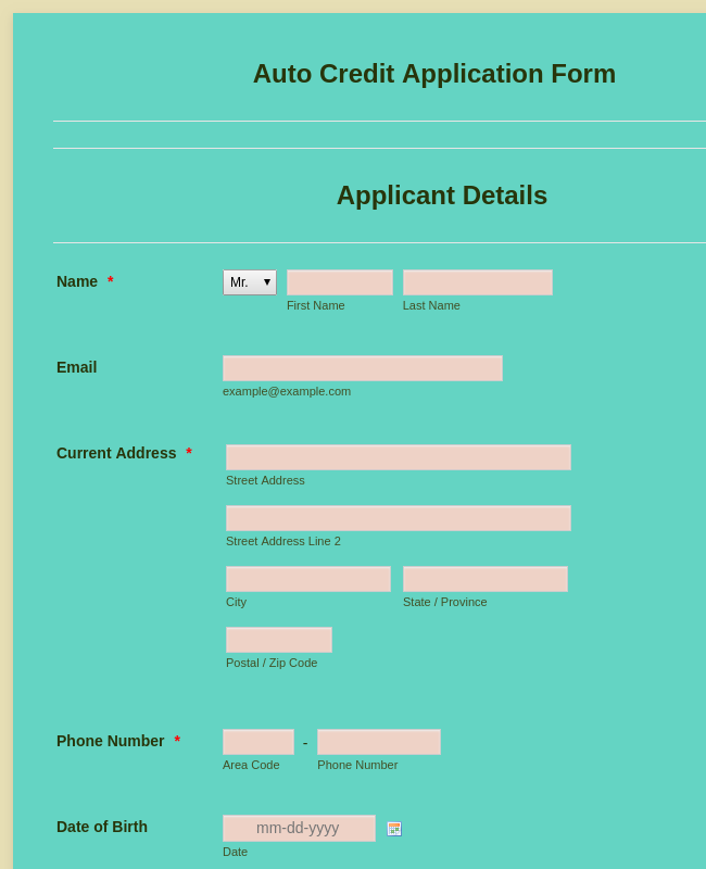 Auto Credit Application Form