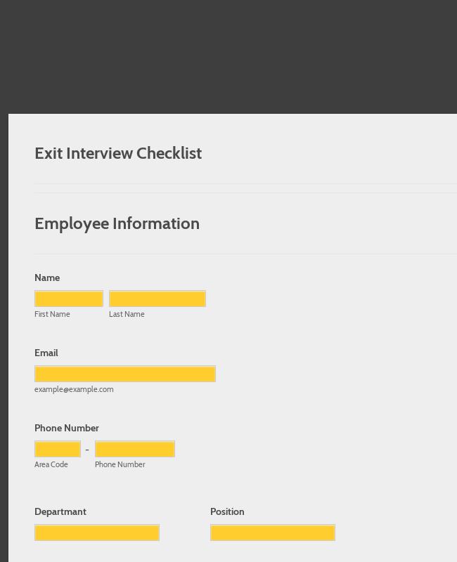 Exit Interview Checklist